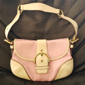 Coach Pink and Ivory Leather Jacquard Hobo Bag